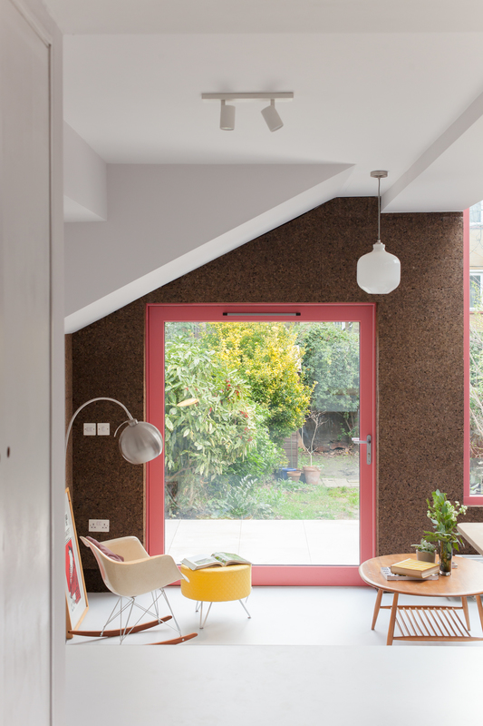 Open-House-London-Cork-House-By-Nimtim-Architects-Internal-Cork-Wall-Finish